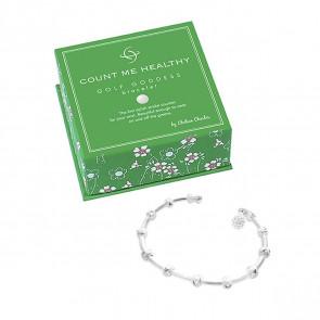 Golf Goddess Stroke Counter Bracelet - Silver with Golf Ball Bead Charm